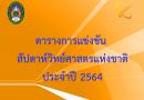 ตารางการจัดงานสัปดาห์วิทยาศาสตร์แห่งชาติ ส่วนภูมิภาค  ประจำปี 2564 มหาวิทยาลัยราชภัฏเลย